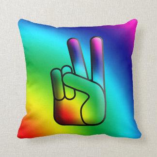 Peace Hand Sign Rainbow Pillow