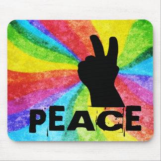 Peace Hand Signal Rainbow Hippie Style Mousepads