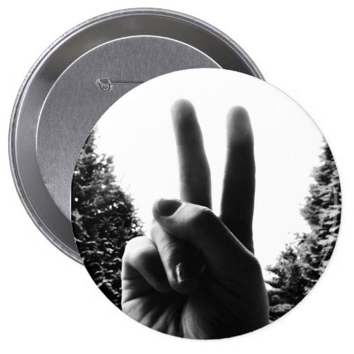 peace hands gesture button badge