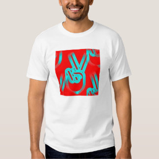 Peace hands (red and blue) t shirts