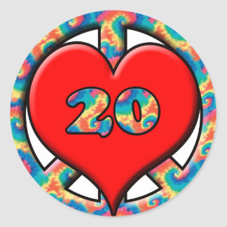 Peace, Heart, 20 Years Old Round Sticker