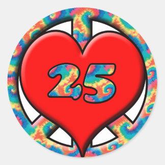 Peace, Heart, 25 Round Sticker
