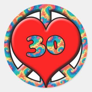 Peace, Heart, 30 Round Sticker