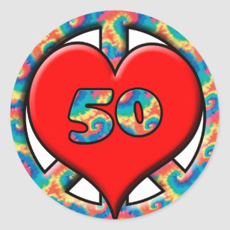 Peace, Heart, 50 Round Sticker