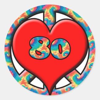 Peace, Heart, 80 Round Sticker