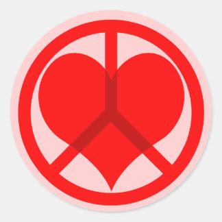 Peace heart Valentine's Day Round Sticker