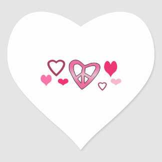 PEACE HEARTS BORDER HEART STICKER