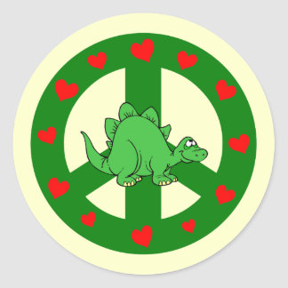 peace hearts dinosaur round sticker