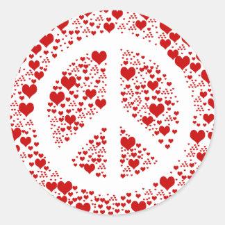 Peace Hearts Round Sticker