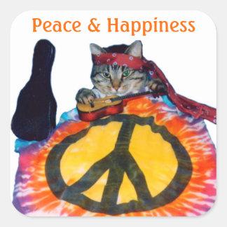 Peace Hippie Cat Sticker