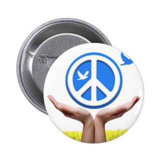 Peace is in our hands 6 cm round badge