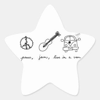 Peace, Jam, Live in a Van Star Sticker