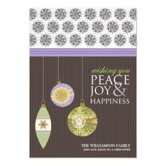 Peace Joy & Happiness Holiday Card (brown/purple)