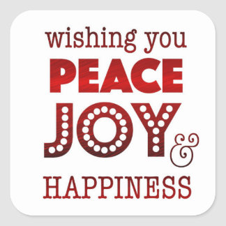 Peace, joy & happiness stickers for holiday card