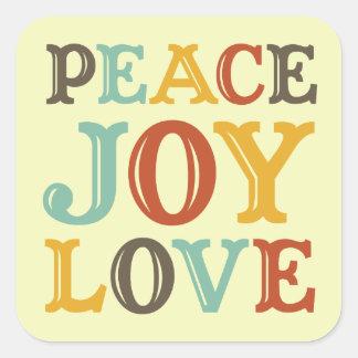 PEACE JOY LOVE block letter envelope seal label Square Stickers