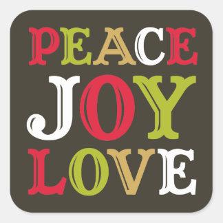 PEACE JOY LOVE block letter envelope seal label Square Sticker