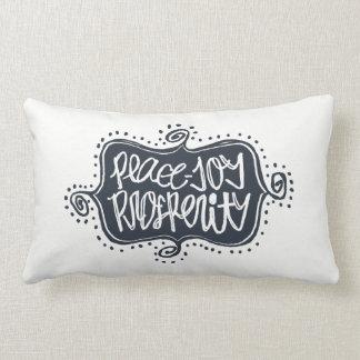 Peace Joy Prosperity hand lettered Flourish Frame Lumbar Pillow
