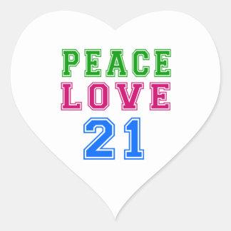 Peace Love 21 Birthday Designs Heart Stickers