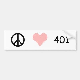 peace, love, 401 bumper sticker