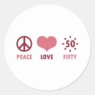 Peace Love 50th Birthday Gifts Round Sticker