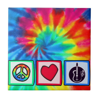 Peace, Love,  Acoustic Guitars Small Square Tile