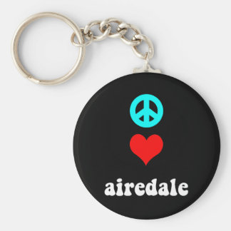 Peace love airedale basic round button key ring