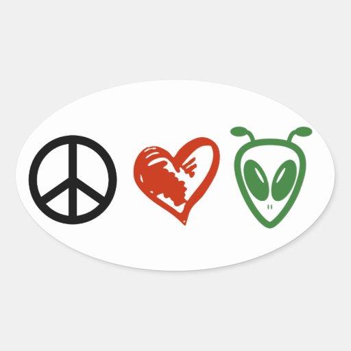 Peace Love & Aliens Oval Stickers