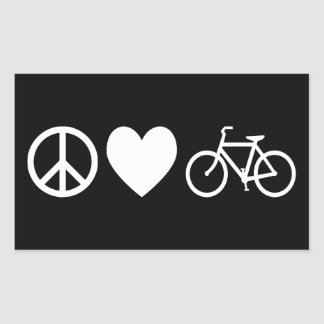 Peace Love and Bicycles Rectangular Sticker