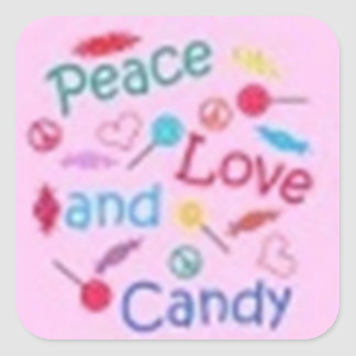 Peace, Love, and Candy Square Sticker