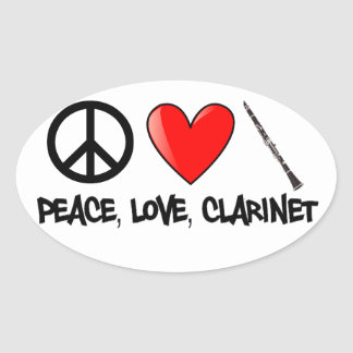 Peace, Love, and Clarinet Oval Sticker