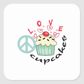 PEACE LOVE AND CUPCAKES SQUARE STICKER