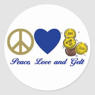 Peace, Love and Gelt Hanukkah Tees and Gifts Round Sticker
