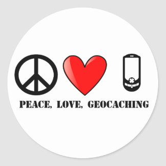 Peace, Love, and Geocaching Round Stickers