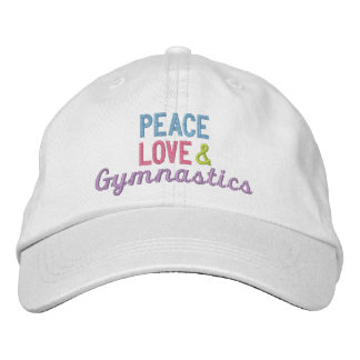 Peace Love and Gymnastics Embroidered Baseball Caps