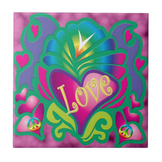 Peace Love and Happiness Small Square Tile