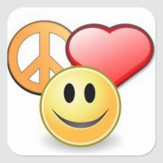 Peace, Love, and Happiness Square Stickers