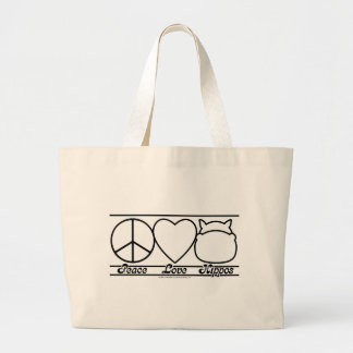 Peace Love and Hippos Large Tote Bag