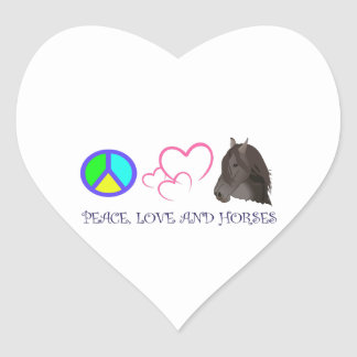 PEACE LOVE AND HORSES HEART STICKER
