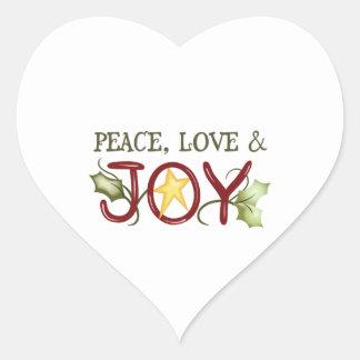 PEACE LOVE AND JOY HEART STICKER