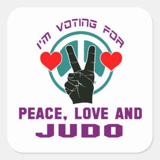 Peace Love And Judo. Square Sticker