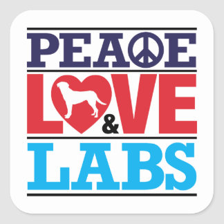 Peace Love and Labs Square Sticker