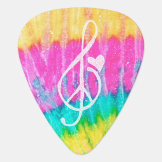 Peace Love and Music Note Tie Dye Heart Guitar Pick