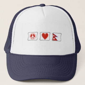 Peace Love and Nepal Squares Trucker Hat