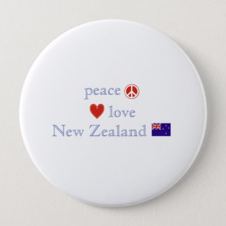 Peace Love and New Zealand 10 Cm Round Badge