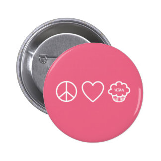 Peace, Love and Vegan Cupcakes 6 Cm Round Badge