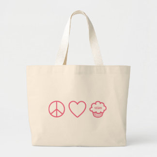 Peace Love and Vegan Cupcakes Canvas Bags
