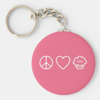 Peace, Love and Vegan Cupcakes Basic Round Button Key Ring