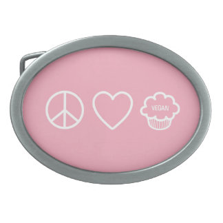 Peace Love and Vegan Cupcakes Belt Buckle