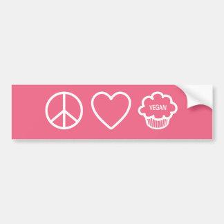 Peace, Love and Vegan Cupcakes Bumper Sticker