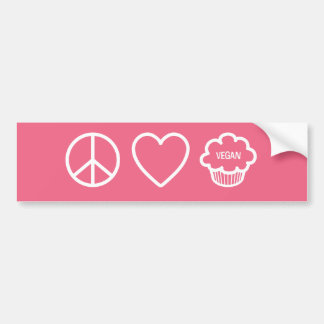 Peace Love and Vegan Cupcakes Bumper Stickers